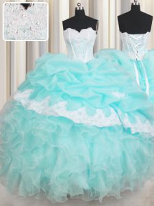 Fantastic Sweetheart Sleeveless Organza Sweet 16 Dresses Beading and Appliques and Ruffled Layers Lace Up