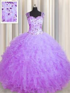 Simple See Through Zipper Up Purple Square Neckline Beading and Ruffles Quinceanera Gown Sleeveless Zipper