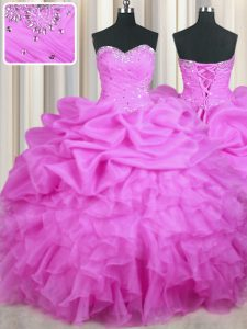 Lilac Sleeveless Beading and Ruffles and Sequins and Ruching Floor Length 15th Birthday Dress