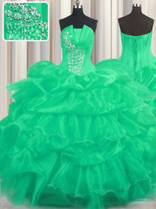 Deluxe Organza Sleeveless Floor Length Vestidos de Quinceanera and Beading and Ruffled Layers and Pick Ups