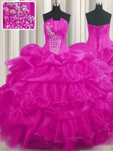 Hot Pink and Fuchsia Strapless Lace Up Beading and Ruffled Layers and Pick Ups Ball Gown Prom Dress Sleeveless