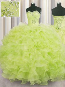 Yellow Green Sweetheart Neckline Beading and Ruffles 15 Quinceanera Dress Sleeveless Lace Up