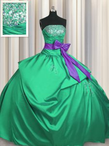 Green Satin Lace Up Quinceanera Gowns Sleeveless Floor Length Beading and Pick Ups and Bowknot