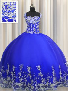 Glamorous Halter Top Sleeveless 15 Quinceanera Dress Floor Length Beading and Appliques Royal Blue Organza