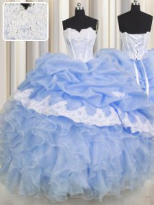 Enchanting Sleeveless Beading and Appliques and Ruffled Layers Lace Up 15th Birthday Dress