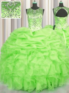 Fancy See Through Sleeveless Floor Length Beading and Ruffles and Pick Ups Lace Up 15th Birthday Dress with