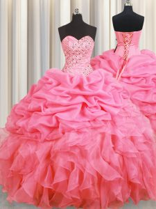 Fantastic Pick Ups Halter Top Sleeveless Lace Up Quinceanera Gown Rose Pink Organza