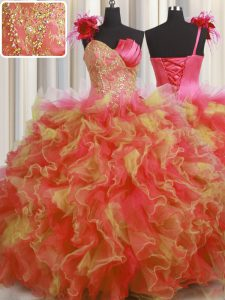 Handcrafted Flower Multi-color One Shoulder Lace Up Beading and Ruffles and Hand Made Flower Quinceanera Dress Sleeveless