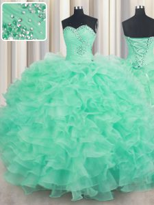 Hot Sale Sleeveless Organza Floor Length Lace Up Quinceanera Gown in Apple Green with Beading and Ruffles