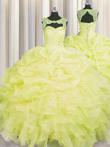 Fantastic Yellow Organza Lace Up Scoop Sleeveless Floor Length Quince Ball Gowns Beading and Pick Ups