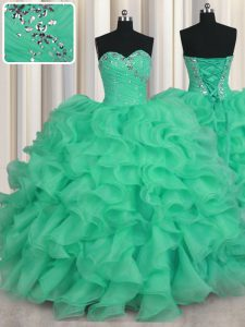 High End Floor Length Turquoise 15 Quinceanera Dress Organza Sleeveless Beading and Ruffles