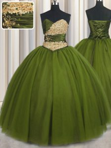 Olive Green Tulle Lace Up Quinceanera Gowns Sleeveless Floor Length Beading and Ruching and Belt