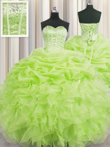 Flare Visible Boning Sleeveless Organza Floor Length Lace Up Vestidos de Quinceanera in Yellow Green with Beading and Ruffles and Pick Ups