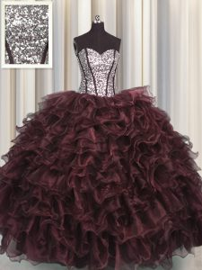 Low Price Visible Boning Brown Sweet 16 Dress Military Ball and Sweet 16 and Quinceanera with Ruffles and Sequins Sweetheart Sleeveless Lace Up