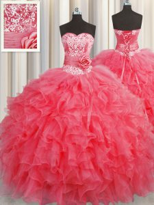 Handcrafted Flower Coral Red Sleeveless Organza Lace Up Sweet 16 Quinceanera Dress for Military Ball and Sweet 16 and Quinceanera