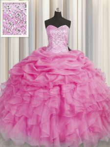Rose Pink Sleeveless Beading and Ruffles Floor Length Vestidos de Quinceanera