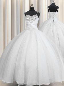 White Lace Up Spaghetti Straps Beading and Ruching Quinceanera Gown Organza Sleeveless