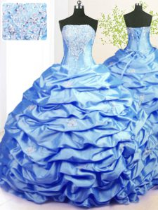 Fancy Baby Blue Lace Up Strapless Beading and Pick Ups Quinceanera Gown Taffeta Sleeveless Sweep Train