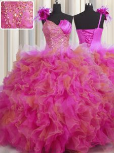 Latest One Shoulder Handcrafted Flower Floor Length Lace Up Sweet 16 Dress Multi-color for Military Ball and Sweet 16 and Quinceanera with Beading and Ruffles and Hand Made Flower