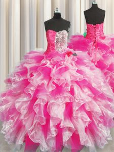 Popular Pink And White Sweetheart Neckline Beading and Ruffles and Ruching 15th Birthday Dress Sleeveless Lace Up