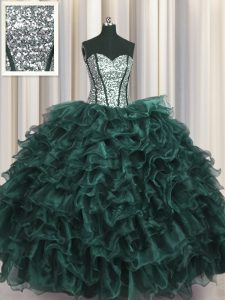 Wonderful Visible Boning Floor Length Lace Up 15th Birthday Dress Peacock Green for Military Ball and Sweet 16 and Quinceanera with Ruffles and Sequins