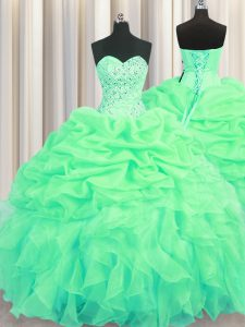 Beading and Ruffles and Pick Ups Sweet 16 Dresses Green Lace Up Sleeveless Floor Length