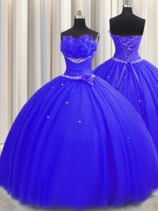 Handcrafted Flower Royal Blue Ball Gowns Tulle Strapless Sleeveless Beading and Ruching and Hand Made Flower Floor Length Lace Up Vestidos de Quinceanera