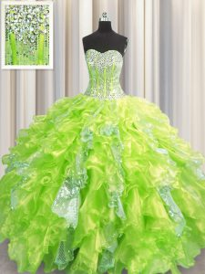 Dazzling Visible Boning Yellow Green Ball Gowns Sweetheart Sleeveless Organza and Sequined Floor Length Lace Up Beading and Ruffles and Sequins Sweet 16 Quinceanera Dress