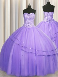 Customized Visible Boning Big Puffy Sleeveless Beading Lace Up Quinceanera Gown