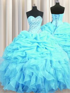 Eye-catching Aqua Blue Ball Gowns Organza Sweetheart Sleeveless Beading and Ruffles and Pick Ups Floor Length Lace Up Quinceanera Dress