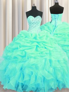 Dazzling Pick Ups Floor Length Ball Gowns Sleeveless Turquoise Sweet 16 Quinceanera Dress Lace Up