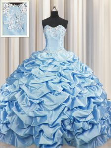 Pick Ups Brush Train Baby Blue Sleeveless Taffeta Sweep Train Lace Up Vestidos de Quinceanera for Military Ball and Sweet 16 and Quinceanera