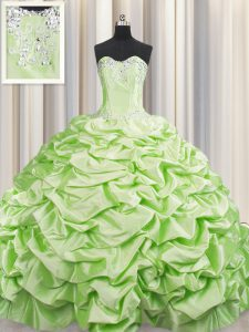 Colorful Brush Train Sweetheart Sleeveless Quinceanera Gown Sweep Train Beading and Pick Ups Yellow Green Taffeta