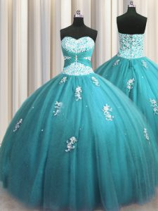 Customized Halter Top Teal Sleeveless Floor Length Beading and Appliques Lace Up Sweet 16 Dress