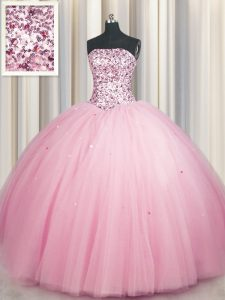 Shining Big Puffy Sleeveless Sequins Lace Up Quinceanera Gown