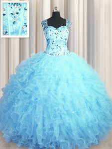 Flare See Through Zipper Up Floor Length Baby Blue Quinceanera Gown Tulle Sleeveless Beading and Ruffles