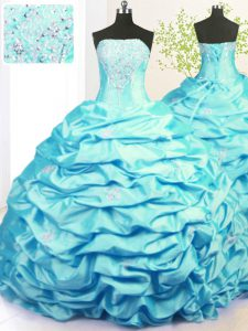 High Class Aqua Blue Strapless Lace Up Beading and Pick Ups Sweet 16 Dresses Sweep Train Sleeveless
