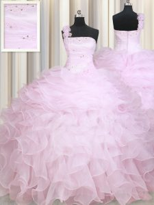Custom Made One Shoulder Sleeveless Zipper Sweet 16 Quinceanera Dress Baby Pink Organza