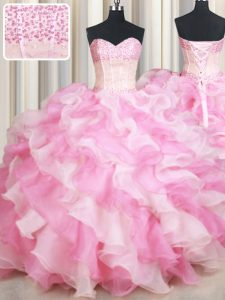 Stunning Pink And White Sweetheart Lace Up Beading and Ruffles Sweet 16 Dress Sleeveless