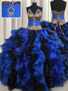 Strapless Sleeveless Lace Up Quinceanera Dress Blue And Black Organza