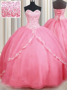 With Train Ball Gowns Sleeveless Watermelon Red Quinceanera Gowns Brush Train Lace Up