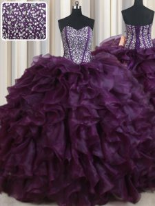 Spectacular Dark Purple Organza Lace Up Quince Ball Gowns Sleeveless Floor Length Beading and Ruffles