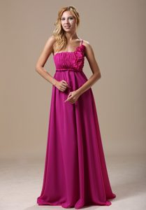 Custom Made One Shoulder Floor-length Dama Dresses with Flowers