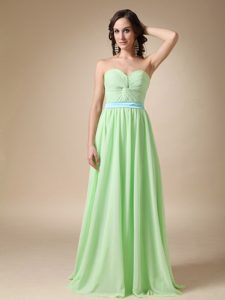 Empire Sweetheart Floor-length Beautiful Quince Dama Dress with Belt