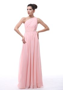Low Price Ruched and Beaded One Shoulder Dama Dress in Light Pink