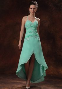 Cheap High Low Spaghetti Straps Quince Dama Dresses in Apple Green