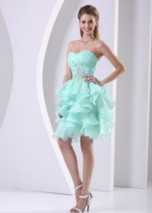 Apple Green Discount Sweetheart Quinceanera Dama Dress with Ruffles