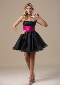 Cute A-line Beaded Quinceanera Dama Dresses in Black and Hot Pink