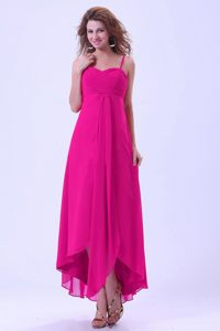 High-Low Spaghetti Straps Sweet Chiffon Dama Dresses in Hot Pink