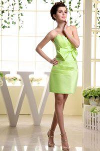 Elegant Yellow Green Strapless Mini-length Quinceanera Dama Dresses